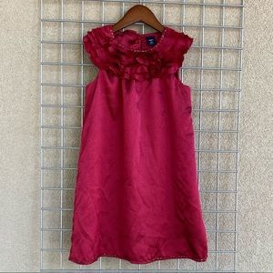 Girl's Ruby Red Ruffle Embellished Neckline Dress